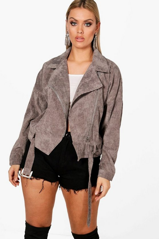 Plus Cord Crop Biker Jacket