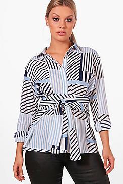 Plus Fifi Multi Stripe Tie Waist Shirt