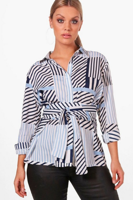 Plus Fifi Multi Stripe Tie Waist Shirt