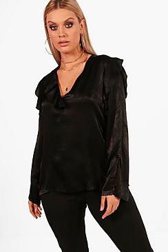 Plus und Bluse mit geschlitzten Ärmeln - Boohoo.com