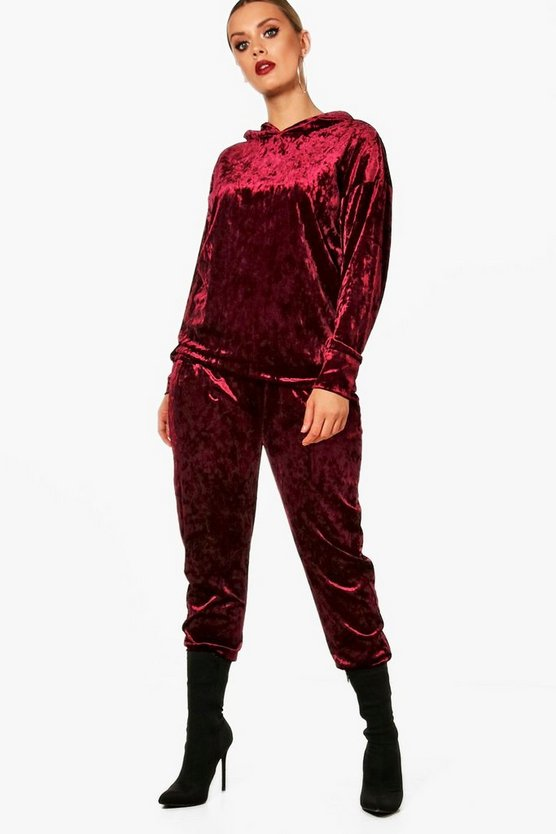 Plus Velvet Hooded Sweat suit Co-Ord