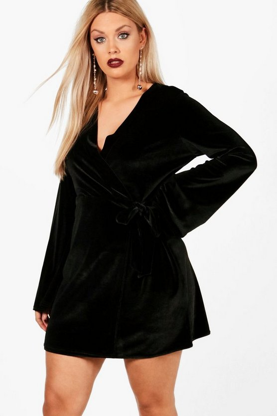 Plus Katie Wrap Detail Velvet Dress