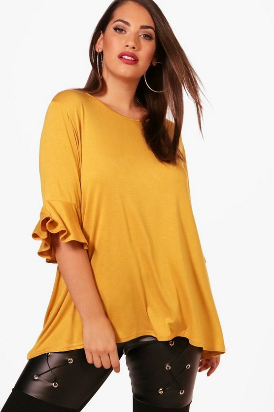 Plus Ruffle Oversized Basic T Shirt
