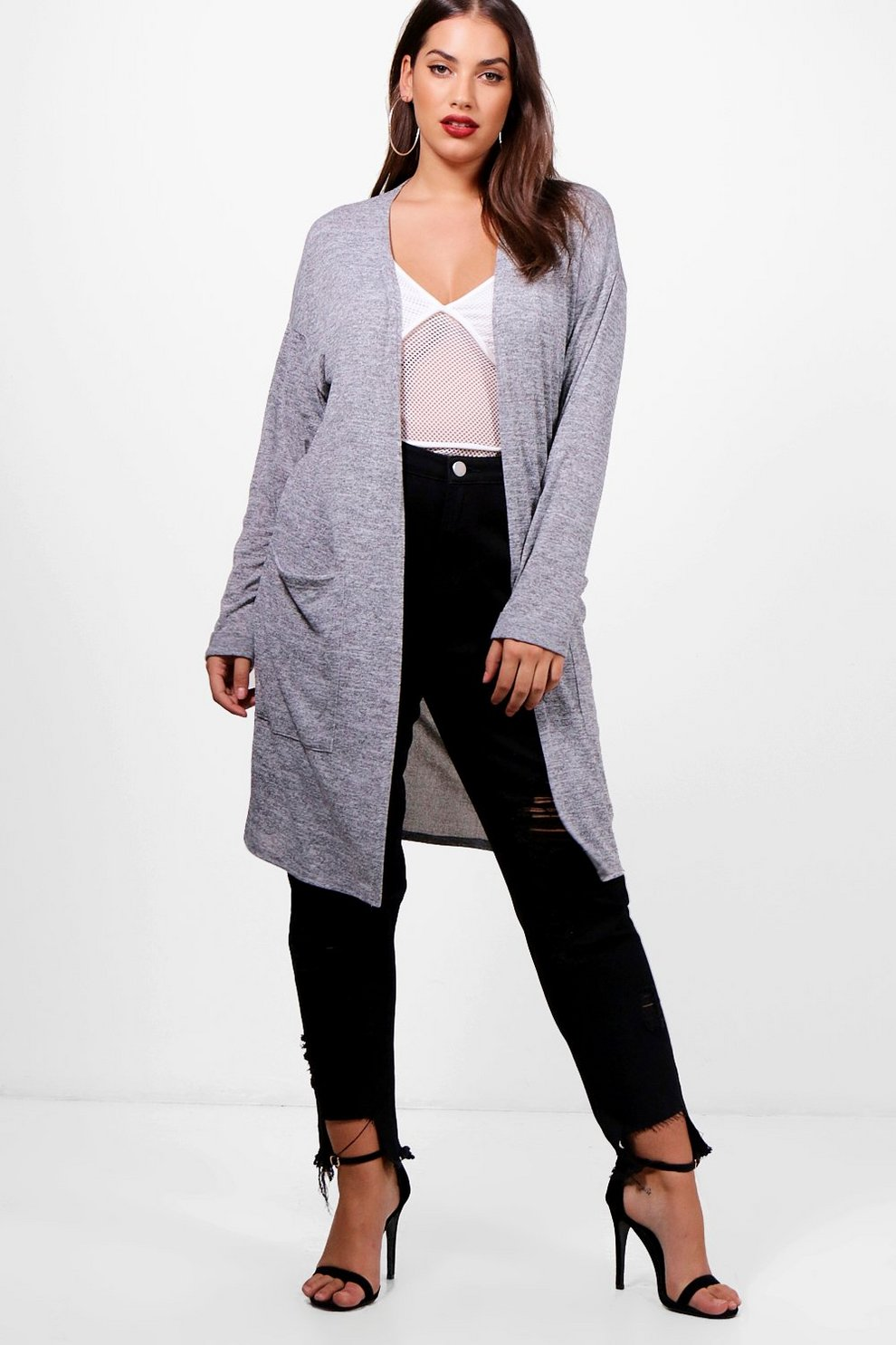 Plus Becca Longline Pocket Cardigan | Boohoo