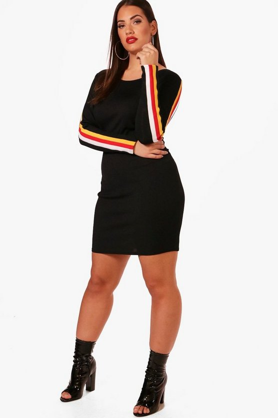 Plus Rib Sports Trim Bodycon Dress