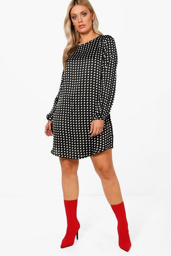 Plus Curve Hem Long Sleeve Shift Dress