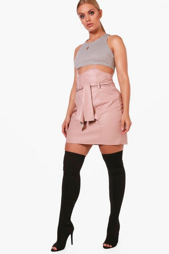Plus Hannah Paper Bag Waisted Pu Mini Skirt