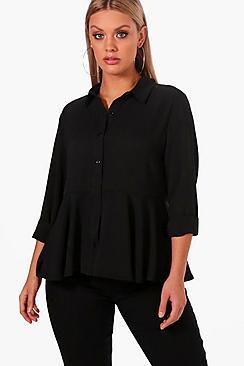 Plus unten Bluse mit Schößchen - Boohoo.com