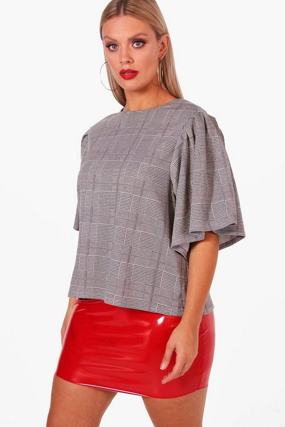 Plus Lisa Blouson Sleeve Check Top