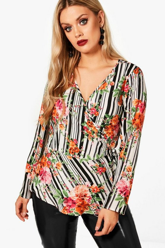 Plus Phoebe Floral Wrap Blouse