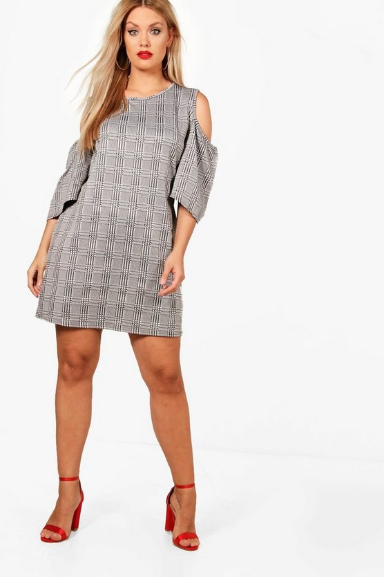 Plus Bella Check Open Shoulder Shift Dress