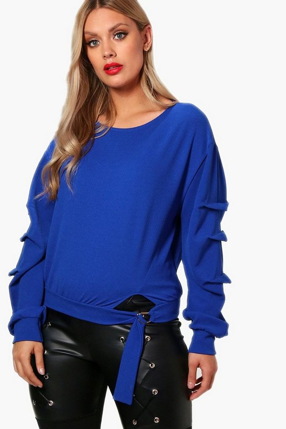 Plus Bethany D Ring Detail Rouched Top