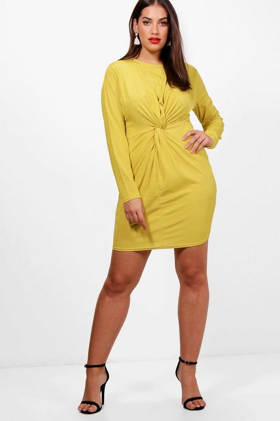 Plus Isabel Ribbed Knot Detail Dress