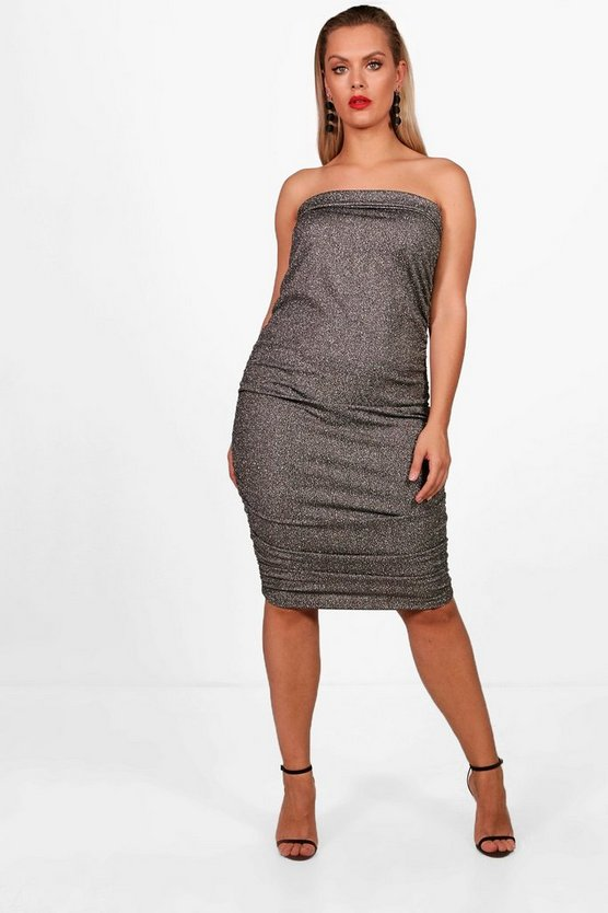 Plus Shimmer Bandeau Midi Dress
