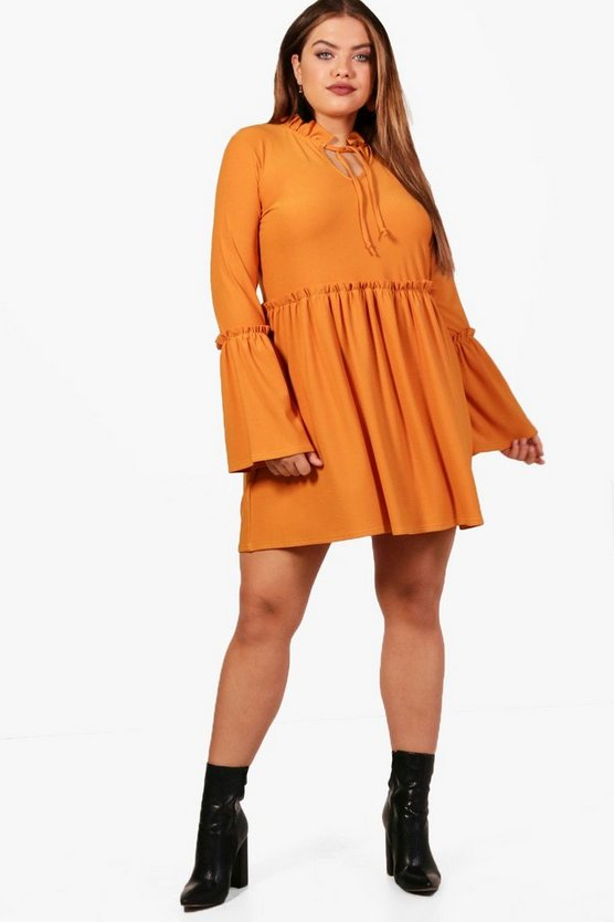 Plus Eva Ruffle Detail Smock Dress