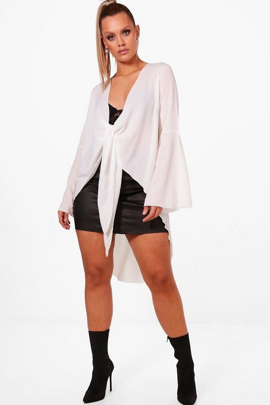 Plus Zoe Knot Front Woven Tunic Blouse