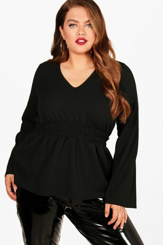 Plus Shirred Waist Wide Sleeve Blouse
