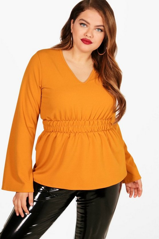 Plus Molly Shirred Waist Wide Sleeve Blouse