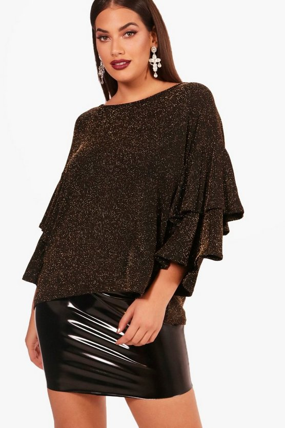 Plus Cally Metallic Frill Detail Top