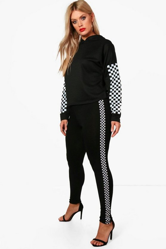 Plus Maddie Checkerboard Trim Legging
