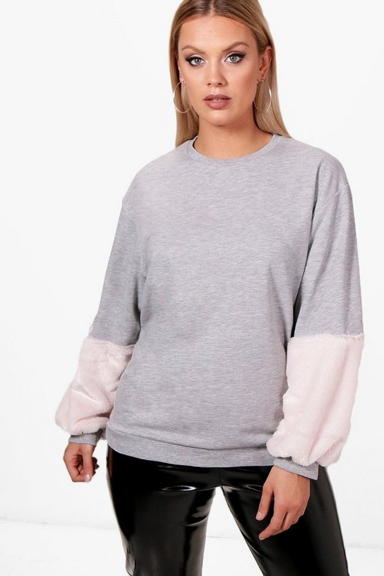 Plus Abbie Fur Detail Sweat Jumper