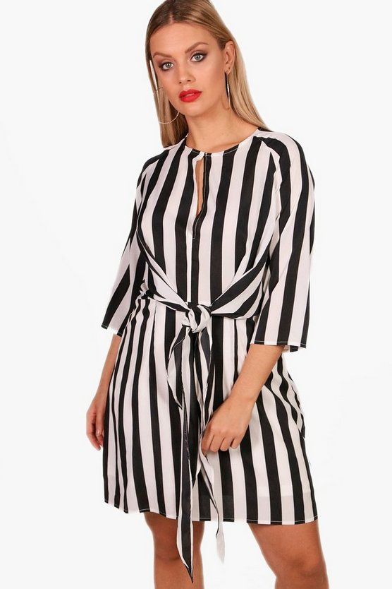 Plus Maria Striped Tie Front Shirt Dress