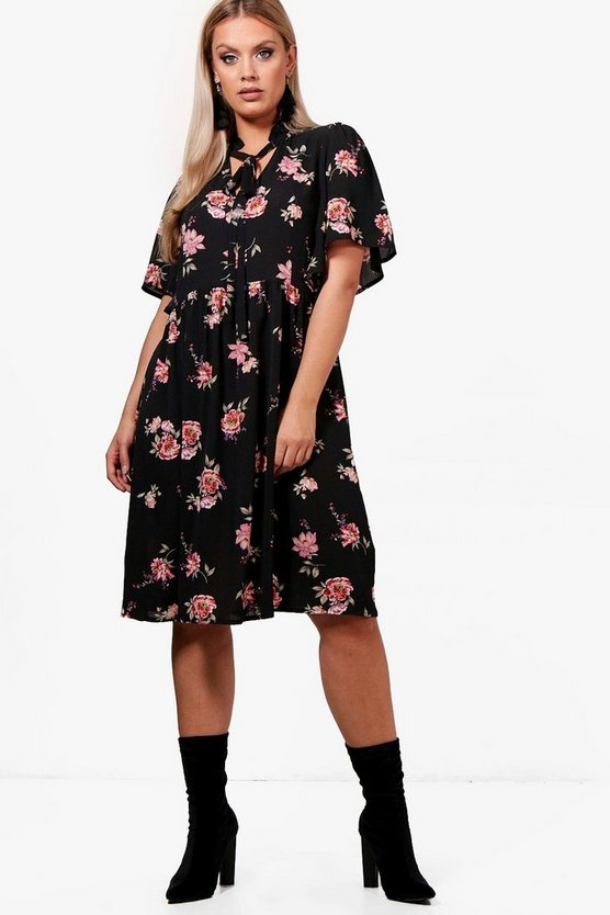 Plus Tia Floral Midi Smock Dress