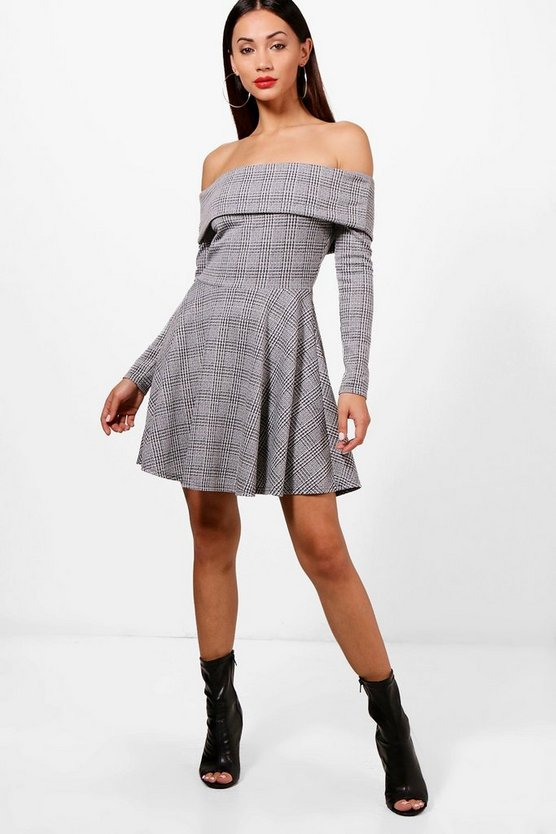 Petite Abi Pow Check Off The Shoulder Skater Dress
