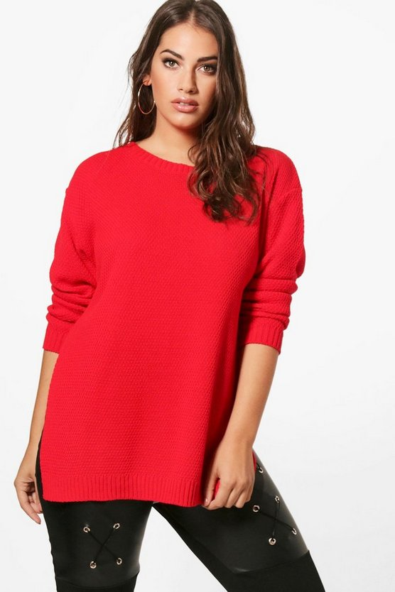 Plus Becca Side Split Moss Stitch Jumper