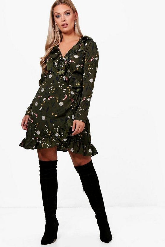 Plus Lindsey Floral Ruffle Wrap Dress