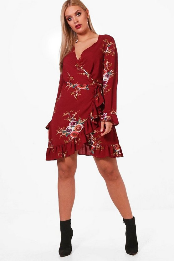Plus Frankie Floral Ruffle Tea Dress