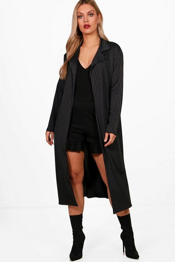 Plus Liv Pinstripe Duster Jacket