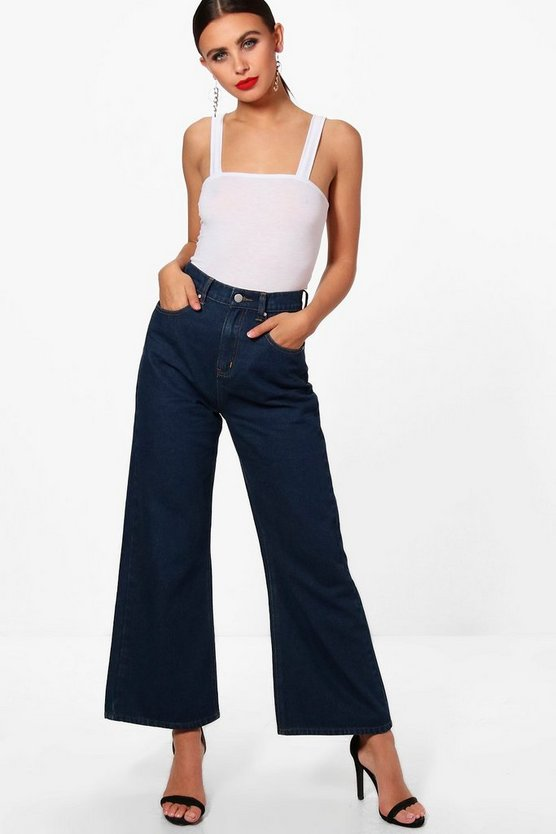 Petite Poppy Cropped Wide Leg Jeans