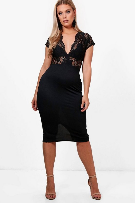 Plus Emma Lace Plunge Midi Dress