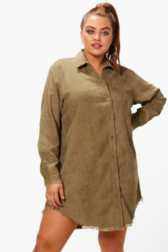 Plus Karina Baby Cord Shirt Dress