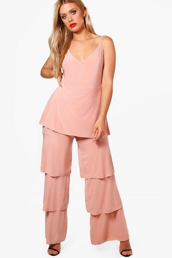 Plus Tina Slinky Frill Layered Jumpsuit