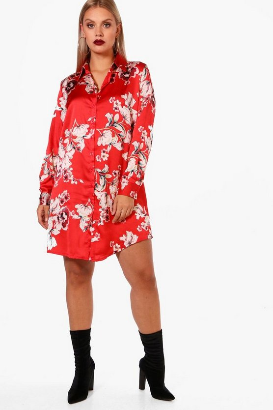 Plus Eva Floral Oriental Print Dress
