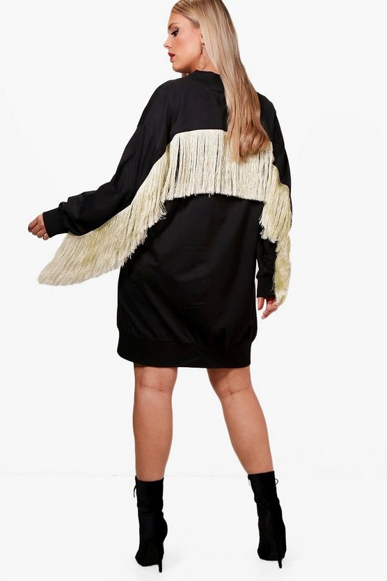 Plus Caitlyn Fringe Detail V Neck Sweat Dress