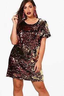 Plus Olivia Multi Sequin Shift Dress