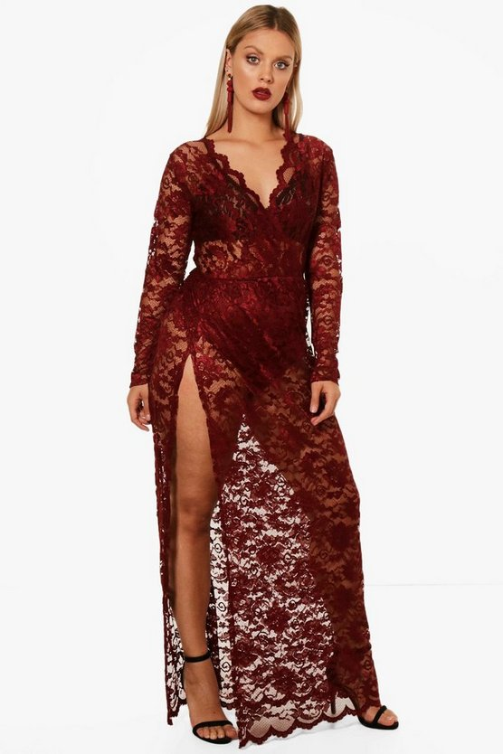 Plus Lace Wrap Front Maxi Dress