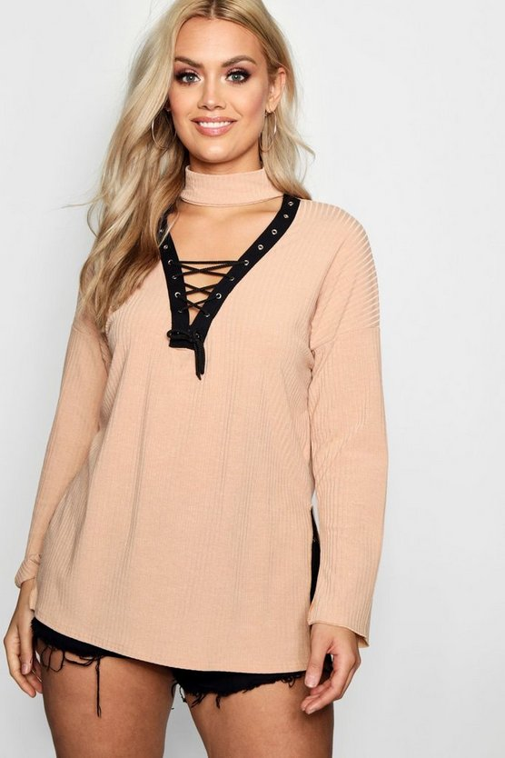 Plus Tara Lace Up Choker Detail Jumper