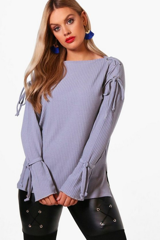 Plus Off Shoulder Tie Detail Jumper