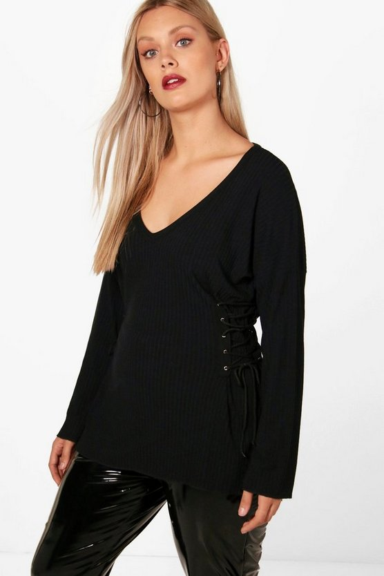 Plus Imogen Lace Up Detail Jumper