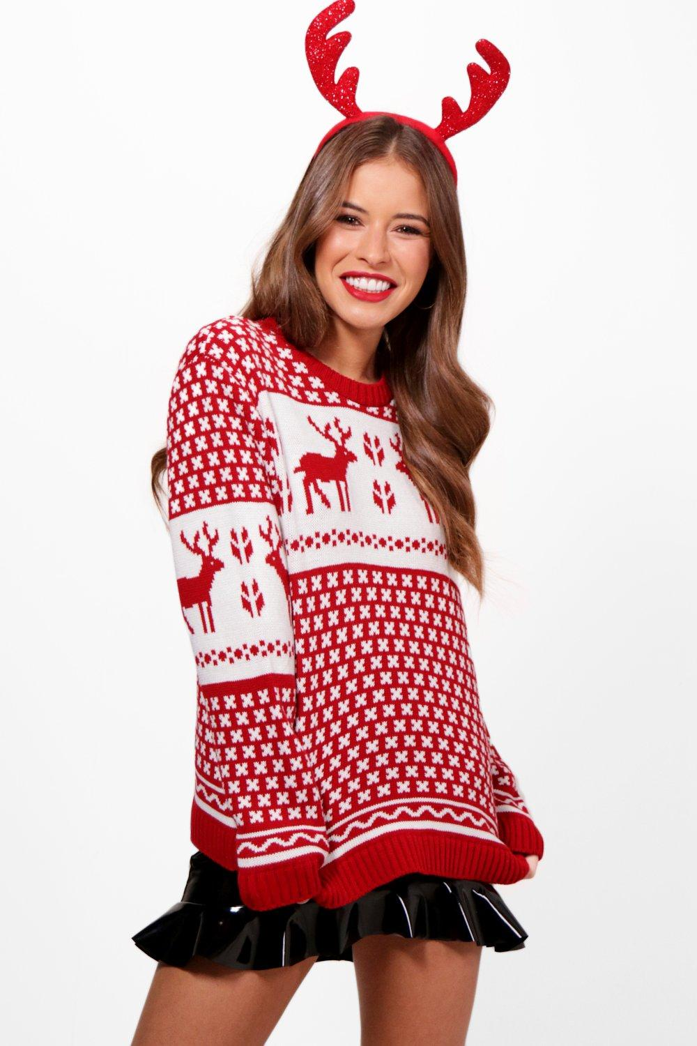 petite tammy red fairisle christmas jumper | boohoo