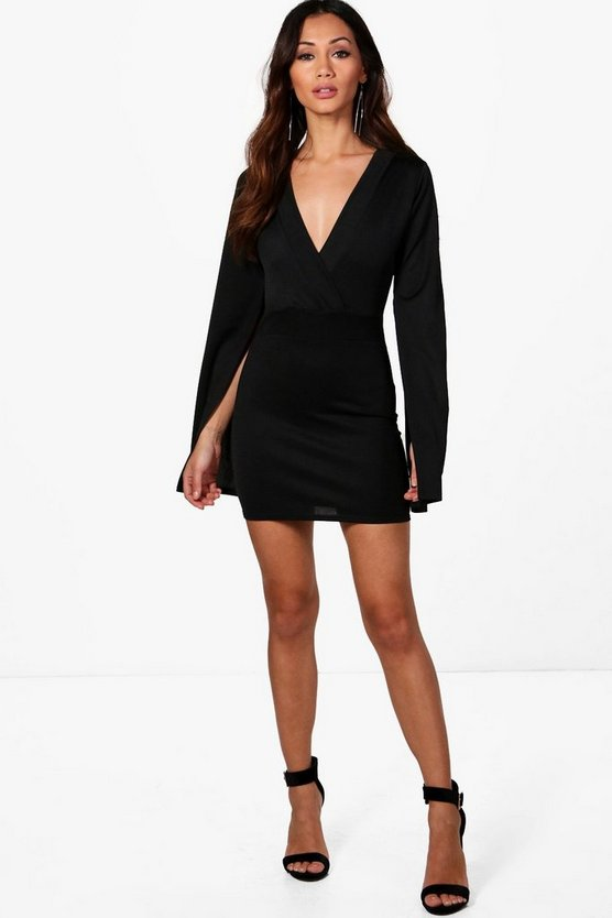 Petite Split Sleeve Wrap Mini Dress