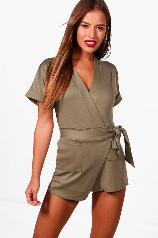 Petite Poppy Obie Tie Wrap Playsuit