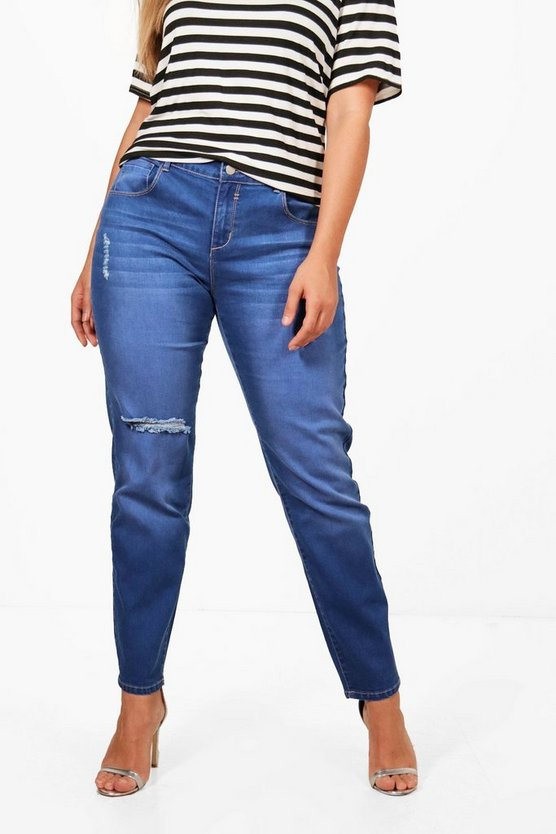 Plus Mid Rise Skinny Ripped Knee Jean