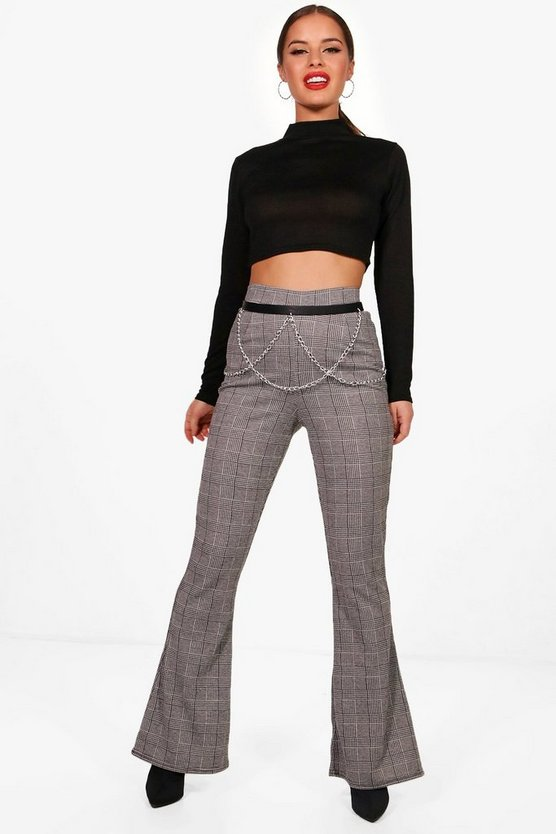 Petite Florrie Check Kick Flare Trousers