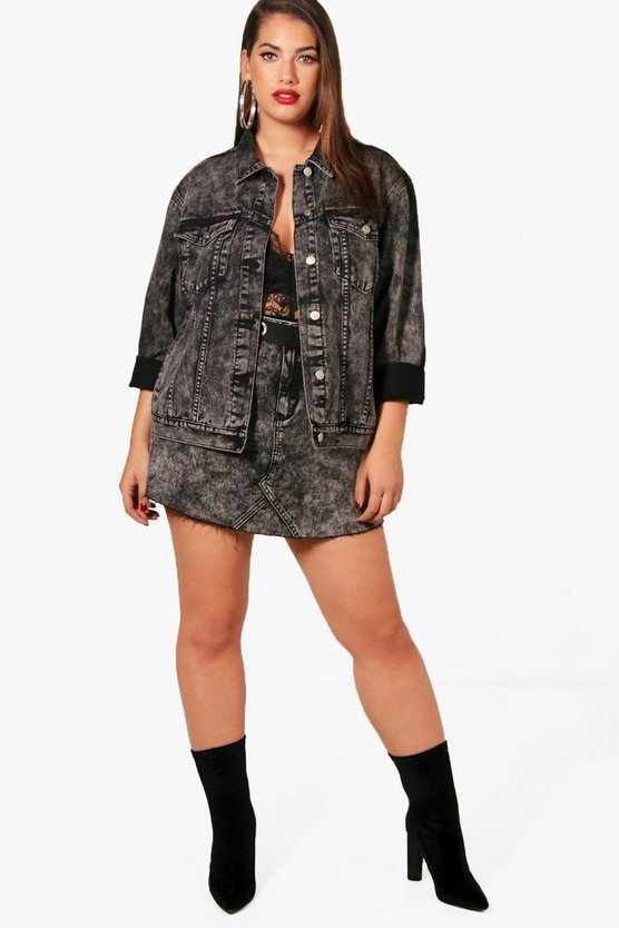 Plus Alysia Acid Wash Oversized Denim Jacket