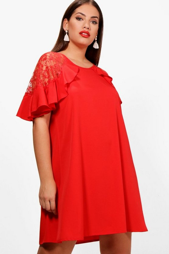 Plus Tilly Lace Detail Frill Shift Dress